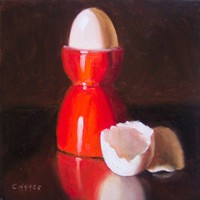 Egg Cup and Shells 6 x 6 Daily Painting by LittletonStudio on Etsy