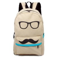 Amazon.com: Fashion Cute Funny Beige Canvas Mustache With Glasses School Campus Bag Backpack Book: Sports & Outdoors
