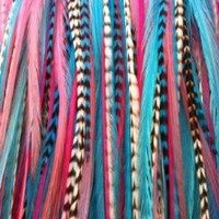 Bright Mixed Hair Feathers