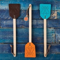 Faux Leather Fly Swatters - Set of 3