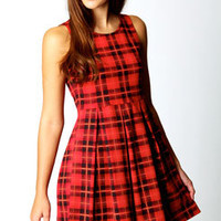 Gracie Tartan Sleeveless Skater Dress