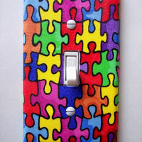 Autism Puzzle Pieces Single Toggle Switch Plate, wall decor