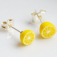 Lemon Stud Earrings, Fimo, Polymer Clay