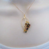 Gold Leaf Necklace, Genuine Watermelon Tourmaline Gemstone Necklace, Dainty Gold Necklace, Mothers Necklace, Bridal Jewelry