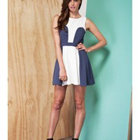FINDERS KEEPERS Paper Paradise Dress IVORY / DENIM