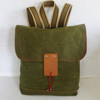 Military Green Waxed Canvas  Backpack  with Adjustable by ottobags