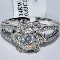 Amazon.com: 14K White Gold Engagement Ring Round Solitaire 0.83ctw split shoulder vintage: Jewelry