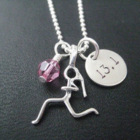 GIRLS LOVE to RUN 13.1 - 18 inch Sterling Silver Half Marathon Running Necklace on 18 inch - Choose Heart or Crystal