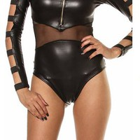 Faux Leather Caged Sleeve Bodysuit  Tanny&#x27;s Couture LLC