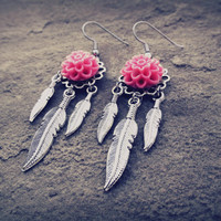 Floral Feathered Earrings by ChezlyXsane on Etsy