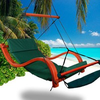 New MTN Deluxe Beach Wood Hammock Swing Lounge Chair w/Footrest Cup holder Green