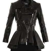 Waterfall peplum leather jacket | Alexander McQueen | Matchesf...