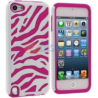 Hot Pink White Zebra Hybrid Hard Soft Case Cover for iPod Touch 5th Gen 5G