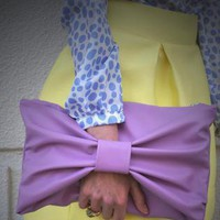 Purple Clutch - Lavender Leather Bow Clutch | UsTrendy