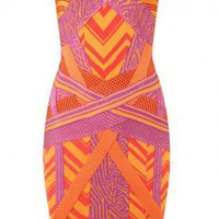 Multi Mini Dress - Bqueen Geometric Jacquard Bandage Dress | UsTrendy