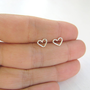 Tiny heart silver earrings heart stud earrings small by Motekk