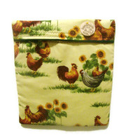 Microwave Potato Bag - Chickens & Sunflowers/ Roosters/Yellow and Green