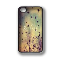 Apple iPhone 4 4G 4S Be Free Birds Cute Quote Retro Vintage BLACK Sides Slim HARD Case Skin Cover Protector Accessory Vintage Retro Unique AT&T Sprint Verizon Virgin Mobile