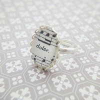Music Score Sheet Notes Glass Small Oval Silver Lace Ring Gift