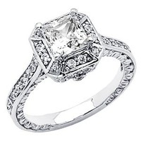 Amazon.com: 14K White Gold High Polish Finish Princess-cut 2.00 CTW Equivalent Top Quality Shines CZ Cubic Zirconia Ladies Solitaire Wedding Engagement Ring Band: The World Jewelry Center: Jewelry