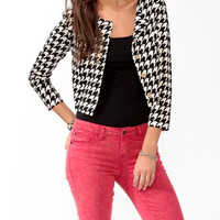 Cropped Houndstooth Jacket | FOREVER 21 - 2027705297