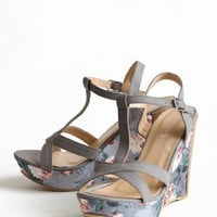 Grey Gardens Floral Wedges | Modern Vintage Shoes