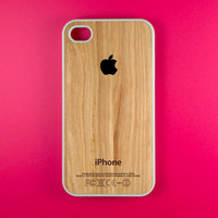 Iphone 4 Case - Black Apple Logo on Wood Iphone Case, Iphone 4s Case