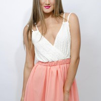 Sleeveless Mini Dress,Pink Colour, Lace/Crochet Style Top, A