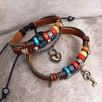 accessoryinlove  Handmade Couple Leather Bracelets- Key To My Heart