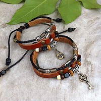 accessoryinlove — Handmade Couple Leather Bracelets-Heart and Key