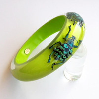 Funky bright green lucite bangle with real bugs by KolosStudio