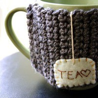 Tea Love Mug Cozy Made to Order by KnitStorm on Etsy