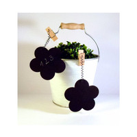 Set of 4 Wooden Chalkboard Clips Flower and Herb by byAnnoDomini