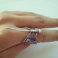 Dragonfly Adjustable Wrap Ring Whimsical Silver by Azeetadesigns