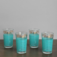 Vintage Teal Grid Glass - Set of 4