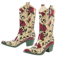 Skulls & Roses Rain Boots - New Age & Spiritual Gifts at Pyramid Collection