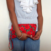 Red Floral Wristlet  by Reneeloveandco on Etsy