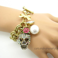 Punk skull metal braclet with white pearl by Cocoshowstyle on Etsy