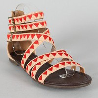 Pink Duchess Jadyn-3 Triangle Patterned Strappy Flat Sandal