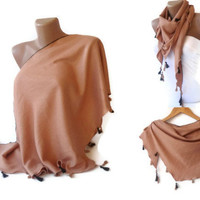 scarf - Pashmina scarves, women clothing, outfits ,tassel scarf, beige brown