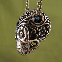 Sugar Skull Necklace Day of the Dead Pendant on 24 by LostApostle