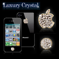 CrystalStone Swarovski Home Button Crystal Logo Sticker-gold For iPhone5 4 4S 3G