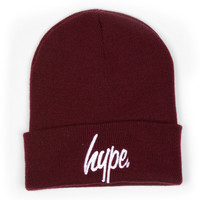 HYPE Woolly Hat Beanie Beenie Burgundy Maroon Black
