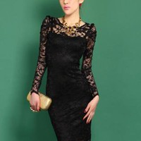 Black Sexy Lace Dress S010539