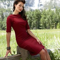 Scarlet Dress with Roll Over Collar and 3/4 Sleeves