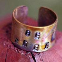 Men's/ Women's Cuff Ring- Freedom Inspired Copper Rugged Ring Cuff with Colorful Rays