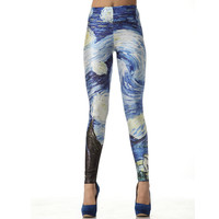 Van Gogh The Starry Night Leggings Pants from Charming Galaxy