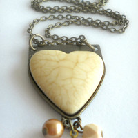 Large Heart Charm Necklace on Antique Brass - Bold Statement Necklace