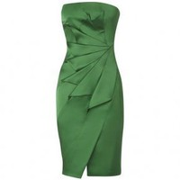 Bqueen Strapless Satin Pencil Dress Green K052G - Designer Shoes|Bqueenshoes.com