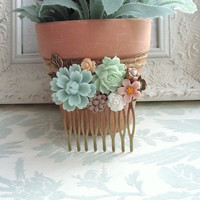 A Mint Mum Flower, Soft Green Rose, Flower Collage Hair Comb. Bridesmaids Hair comb, Wedding Hair Accessory. Vintage Nature themed Wedding.
